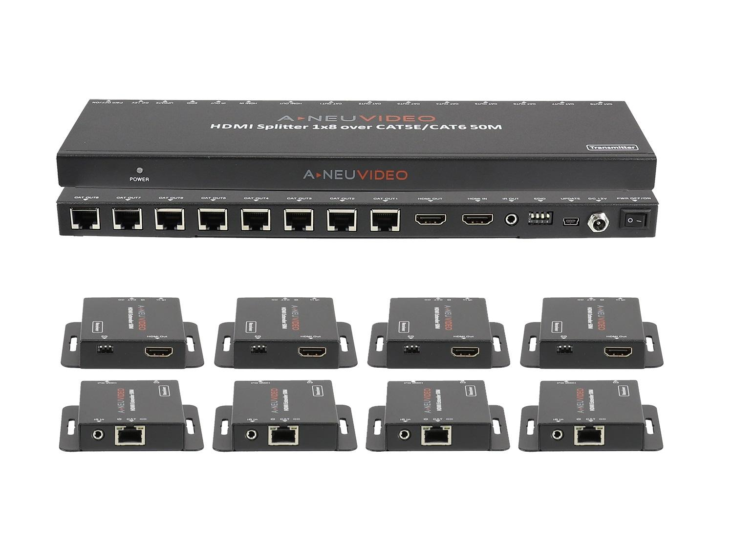 A-NeuVideo ANI-0108POE 1x8 POE HDMI Splitter Extender 150ft/45m over CAT5e/6 with 8x Receivers