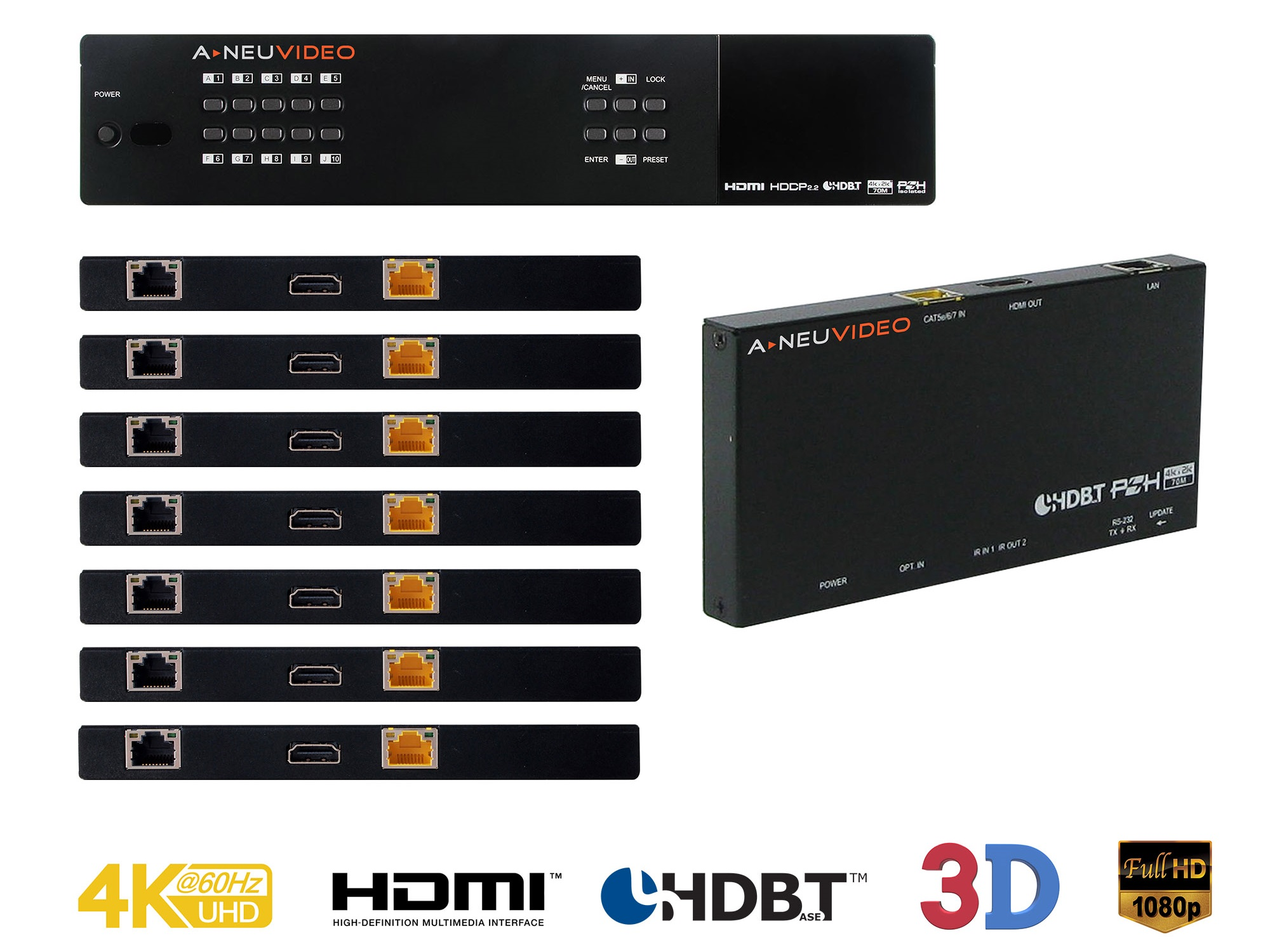 A-NeuVideo ANI-1082UHD-KIT 10x10 HDMI/HDBaseT 4K/60Hz and Audio Matrix Routing Switcher Kit