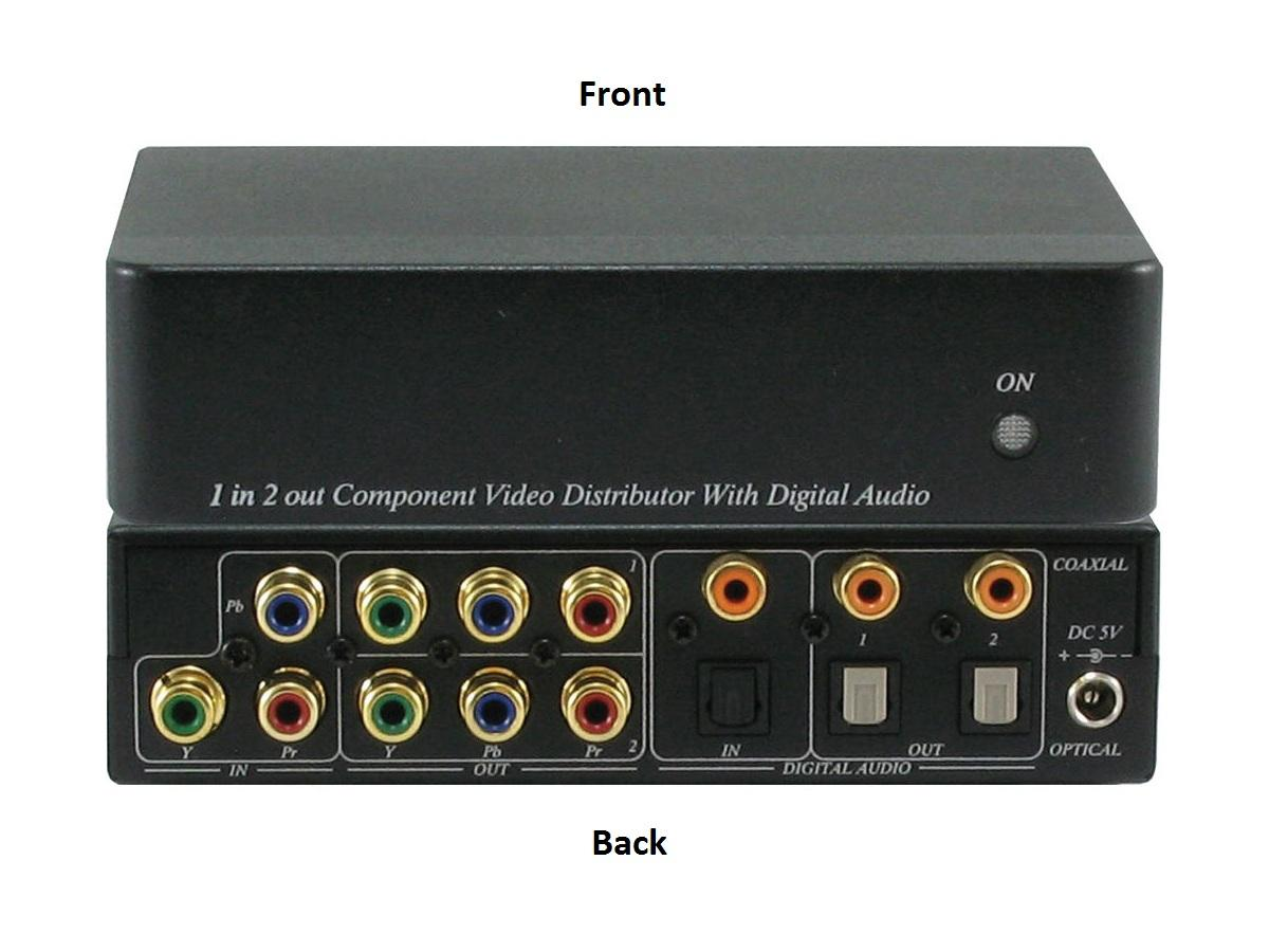 A-NeuVideo ANI-1X2COMPDA 1x2 Component Video(RCA) Splitter Distribution Amplifier With Digital Coaxial/Optical Audio