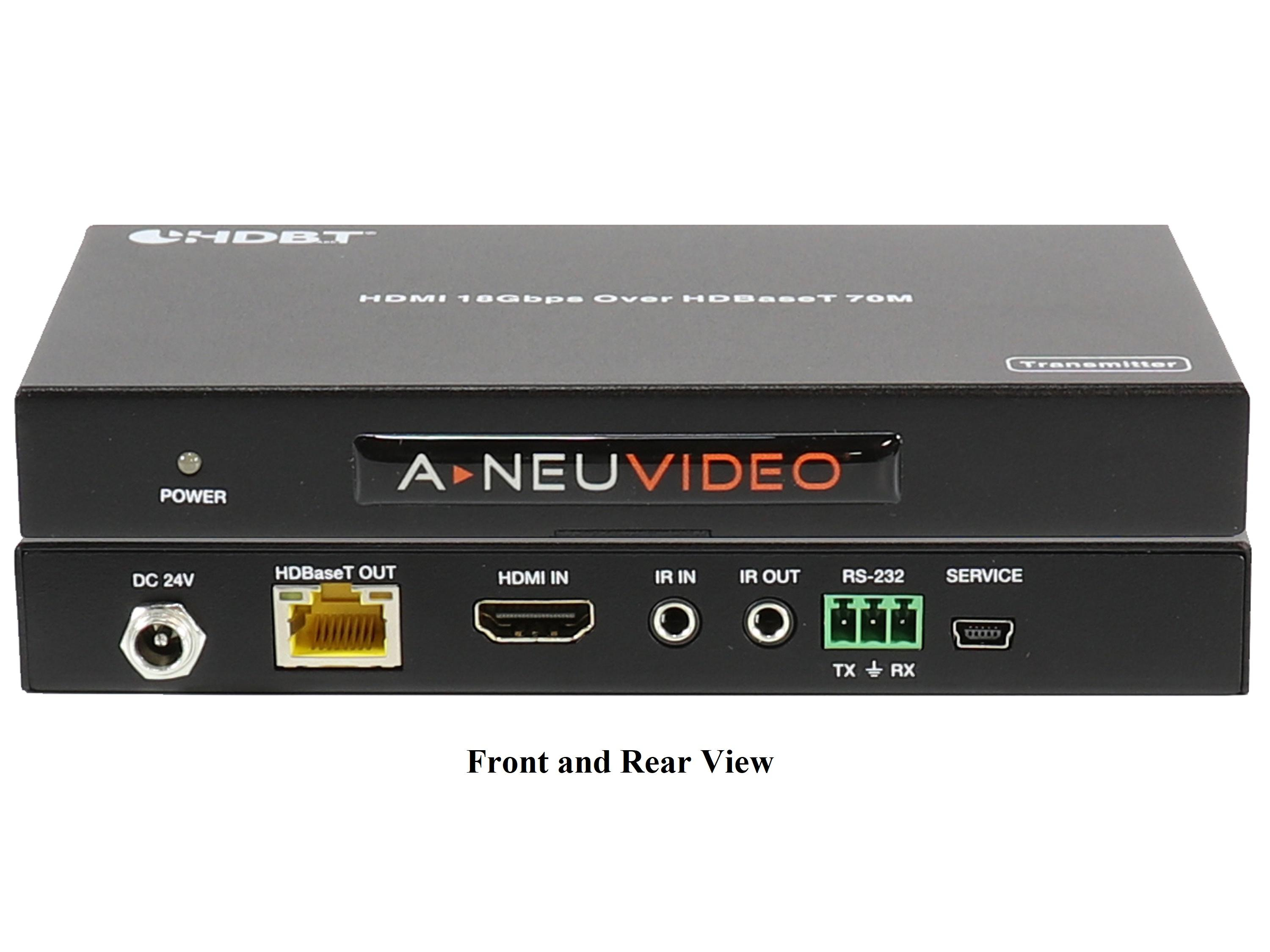 A-NeuVideo ANI-HDR-70 HDMI 4K HDR 18Gbps PoH Extender (Transmitter/Receiver) Kit over Cat5e/6  (230ft/70m)