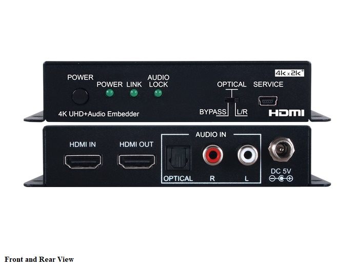 A-NeuVideo ANI-HDAINSERT4k6 4K60 UHD (4x4x4) HDMI Audio Inserter with EDID Management/RS-232 Control