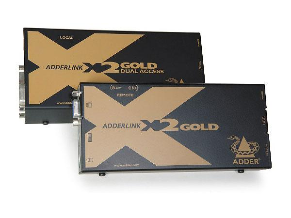 Adder X2-DA-GOLD/P-US Dual Access KVM Extender (Transmitter/Receiver) over Cat6 with Audio/RS232 up to 300m