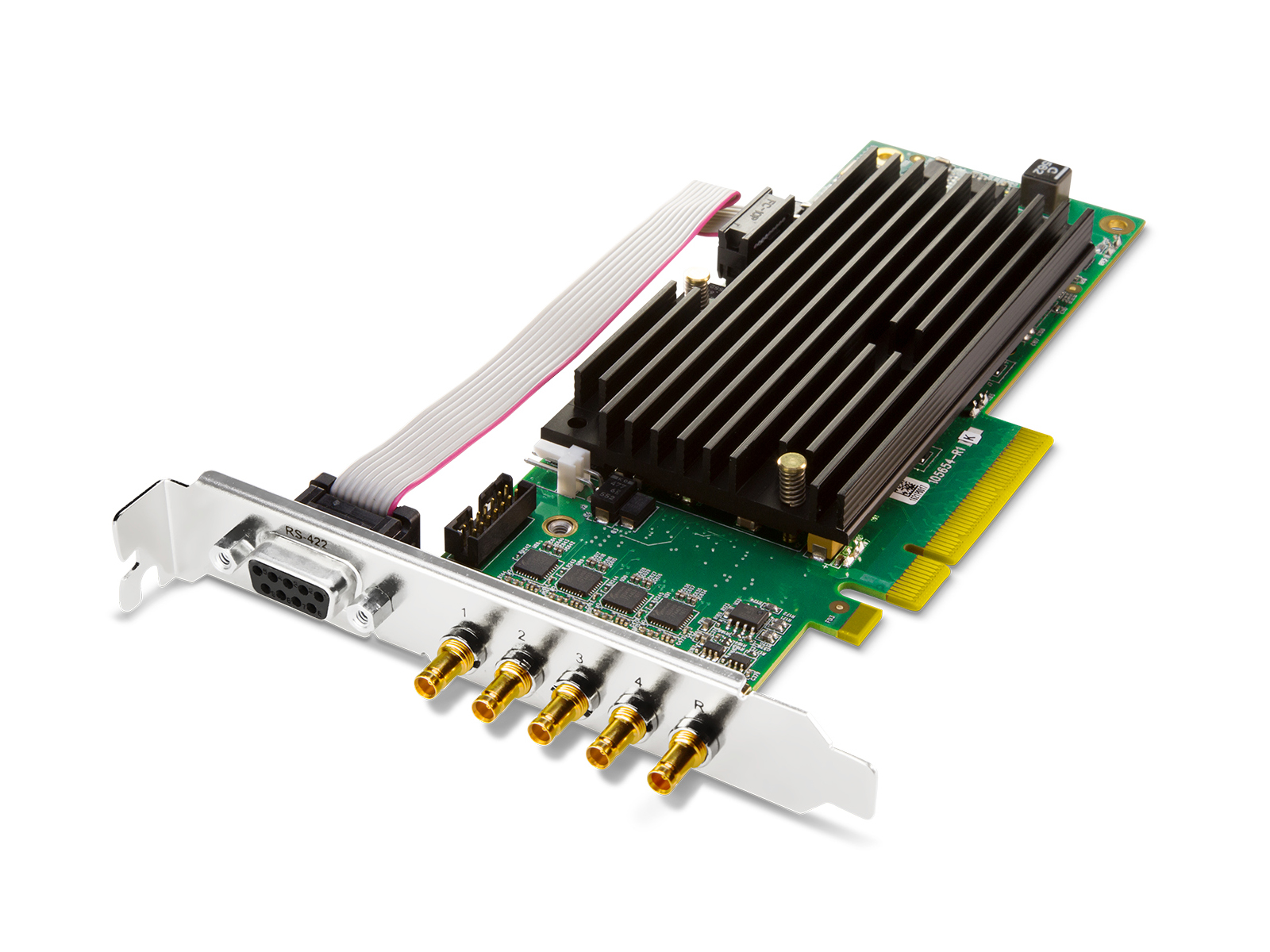 AJA CRV44-T-NF Corvid 44 with standard profile PCIe bracket and passive heat sink/includes 5x 101999-02 cables