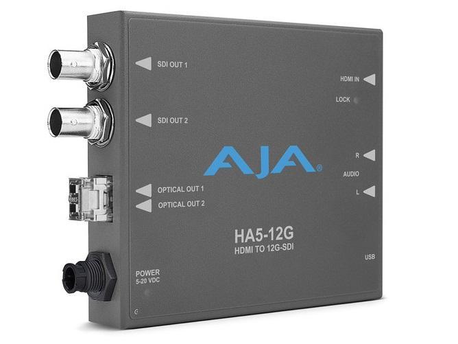 AJA HA5-12G-2T HDMI 2.0 to 12G-SDI Conversion with Dual Fiber Transmitter