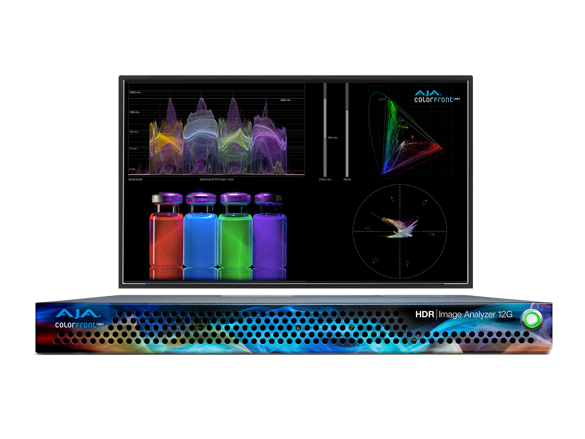 AJA HDR Image Analyzer 12G 8K/UHD2 1RU 12G-SDI Device for Real Time HDR Analysis with Waveform/Histogram/Vectorscope Monitoring