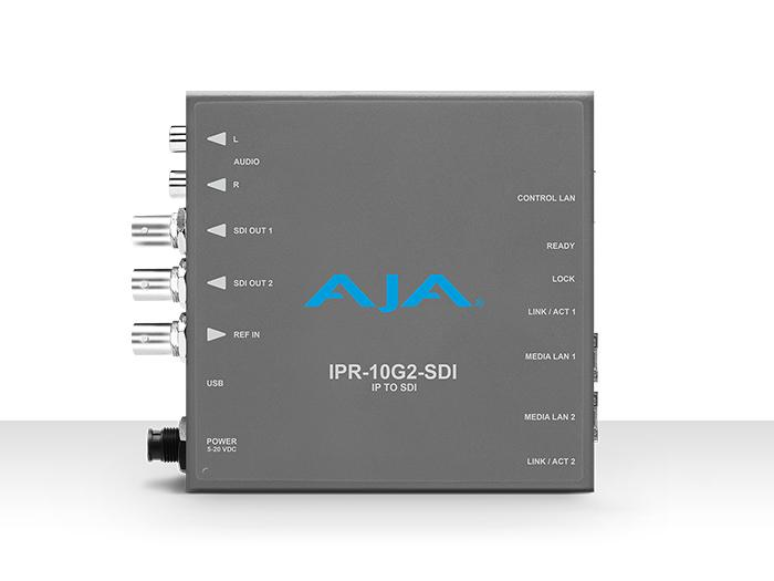 AJA IPR-10G2-SDI Single Channel SMPTE ST 2110 Video and Audio IP Decoder to SDI 1.4b (HD) with hitless switching