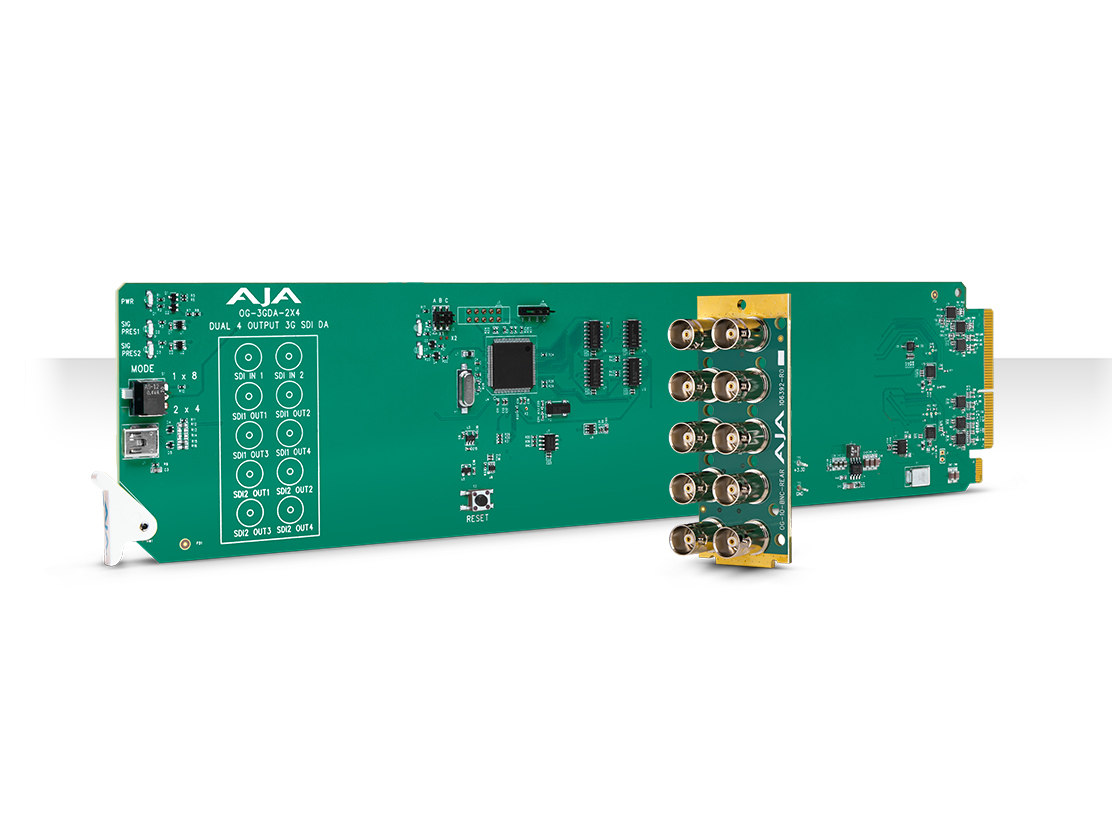 AJA OG-3GDA-2X4 openGear 2x4 or 1x8 3G-SDI Reclocking Distribution Amplifier with DashBoard Support