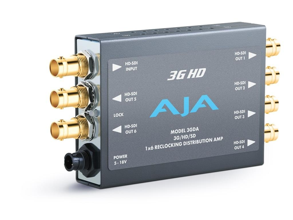 AJA 3GDA 1x6 3G/HD/SD Reclocking Distribution Amp 3G/HD/SD-SDI and 6 SDI outs