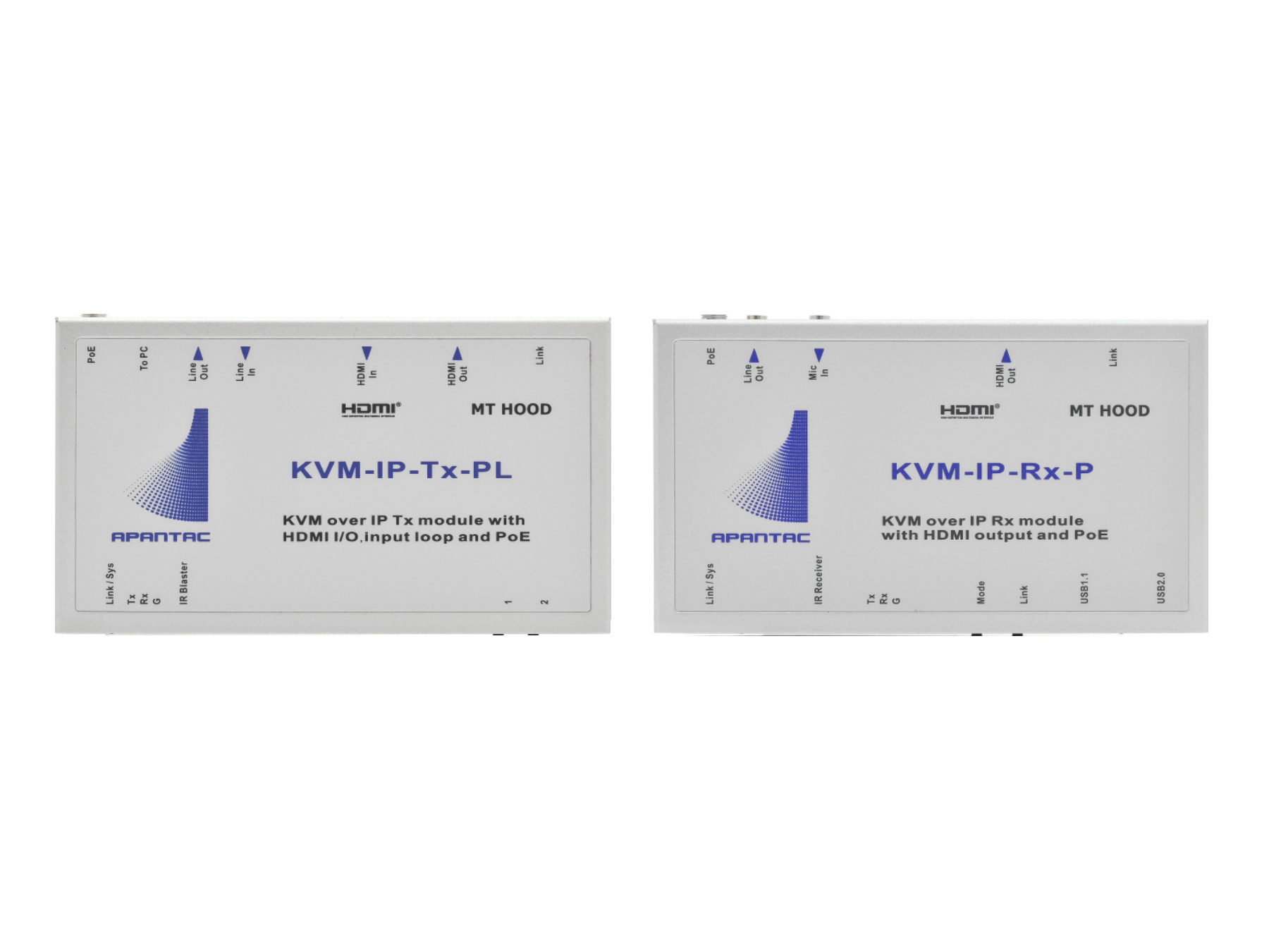 Apantac KVM-SET-14 KVM/HDMI Extender (Transmitter/Receiver) Set over IP with Looping Input and POE