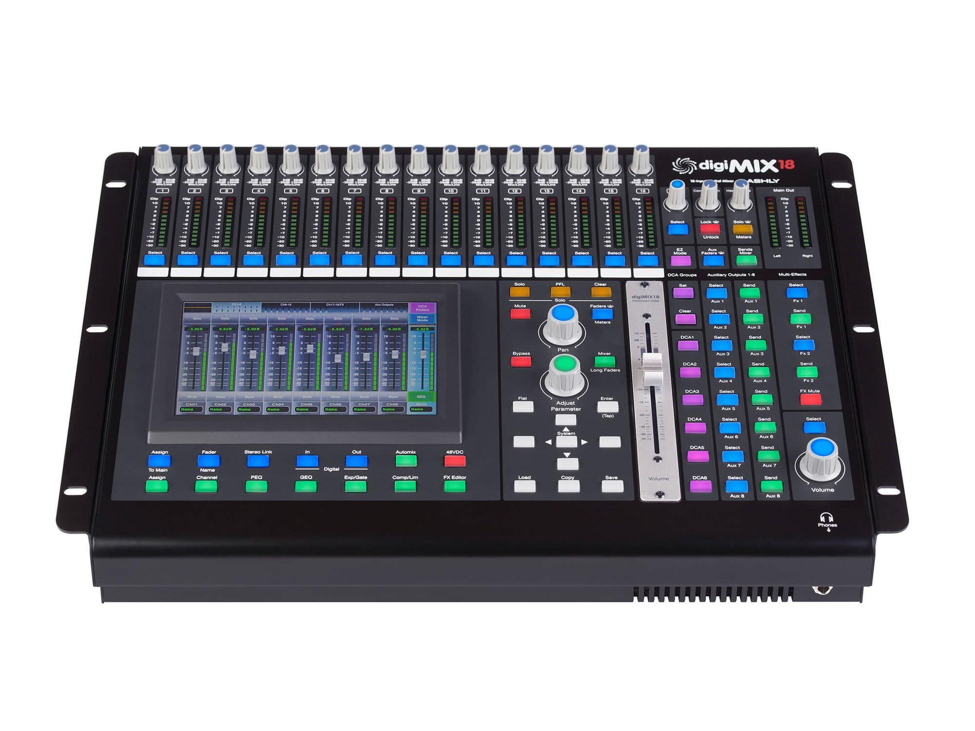 digimix18 ashly 18 channel digital mixer 2 x xlr outputs 2 x 1 4 inch outputs. Black Bedroom Furniture Sets. Home Design Ideas