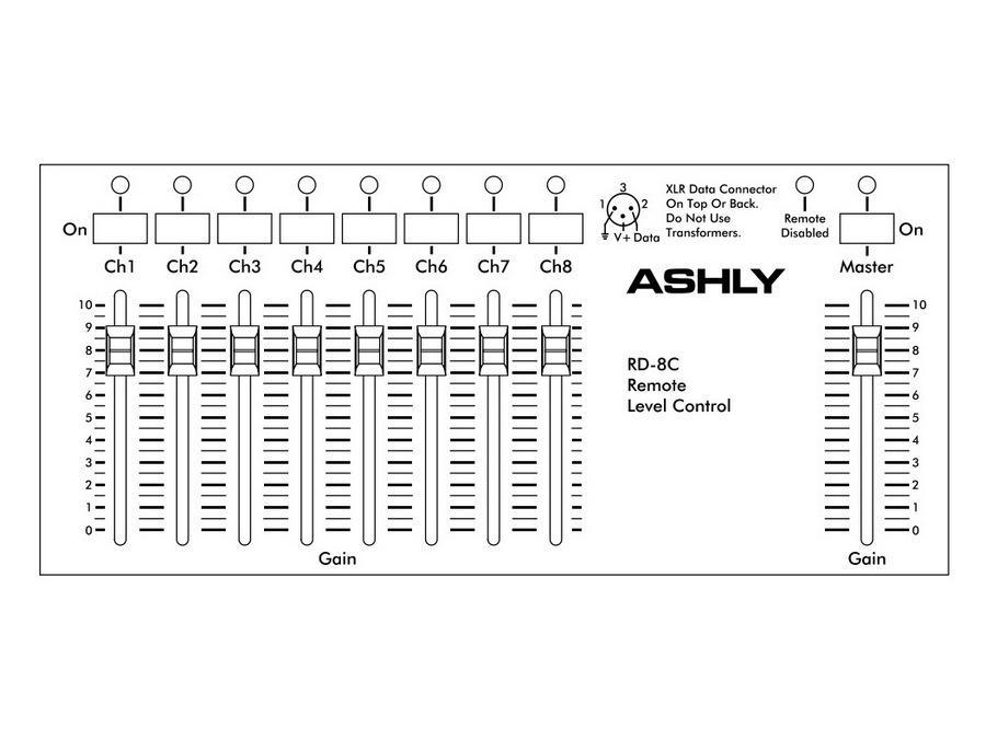Ashly RD-8C Fader Remote/8-Ch w Master/tabletop