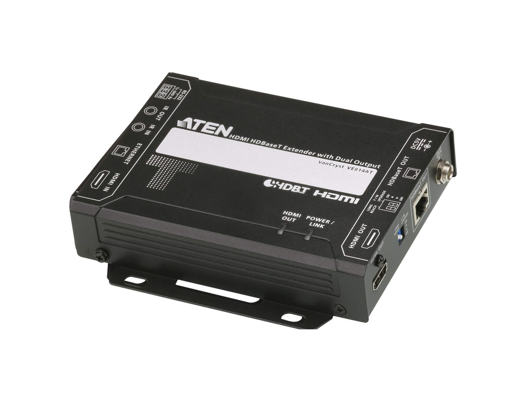Aten VE814A HDMI HDBaseT Class A Extender (Transmitter/Receiver) Kit with Dual Output (4K/100m)