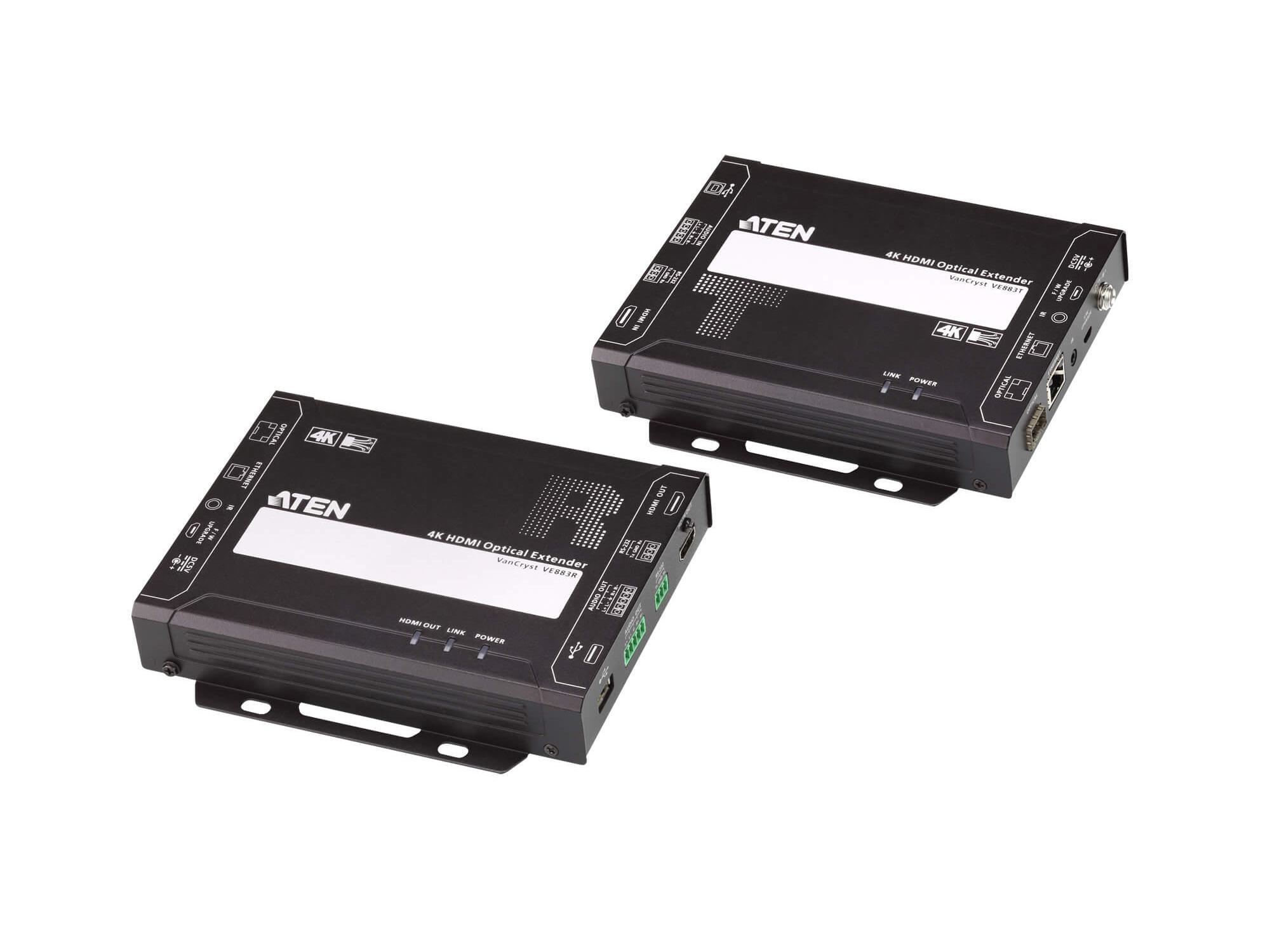Aten VE883K2 4K HDMI Optical Extender (Transmitter/Receiver) Kit up to 10km over Duplex Fiber Optic Cable