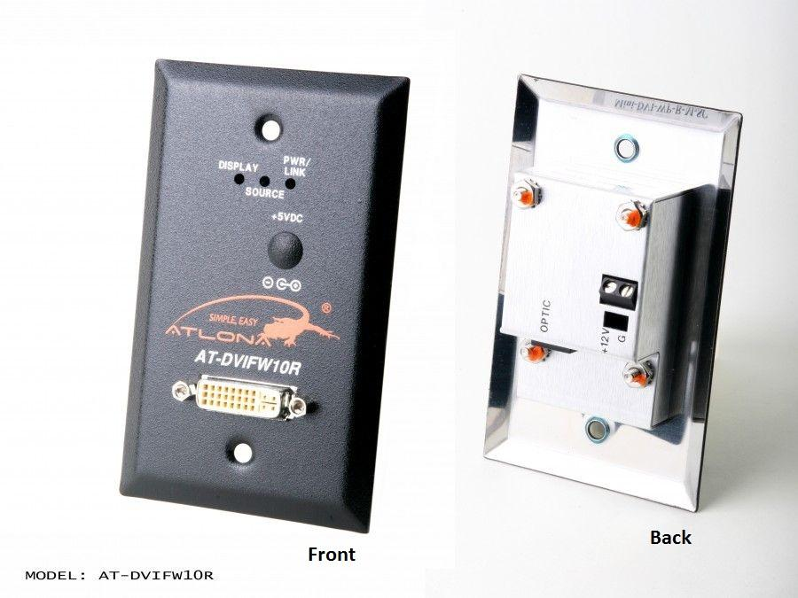 Atlona AT-DVIFW10R-b Wall Plate Style DVI Extender (Receiver) over single Multi Mode Fiber with HDCP and EDID Support
