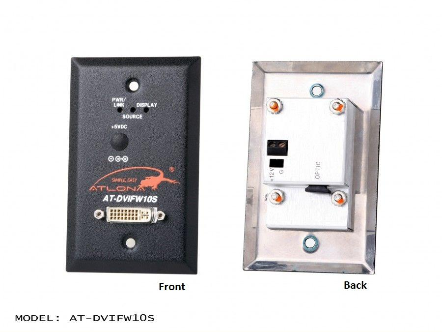 Atlona AT-DVIFW10S-b Wall Plate Style DVI Extender (Transmitter) over single Multi Mode Fiber with HDCP/EDID Support