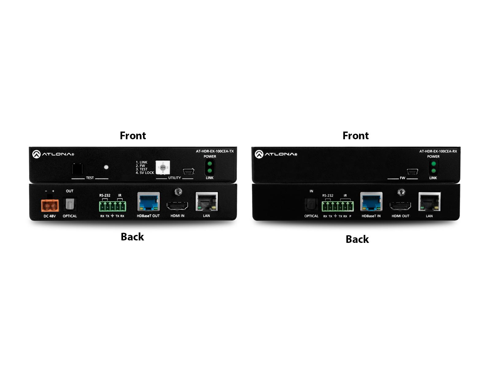 Atlona AT-HDR-EX-100CEA-KIT 4K HDR HDMI/HDBaseT Extender (Transmitter/Receiver) Set with IR/RS-232/Ethernet/PoE