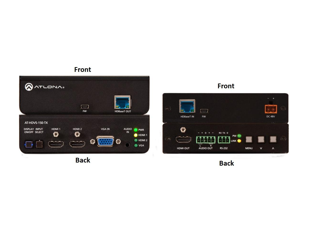 Atlona AT-HDVS-150-KIT HDBaseT/HDMI Extender (Transmitter/Receiver) Set with 3-Input Switcher and HD Scaler
