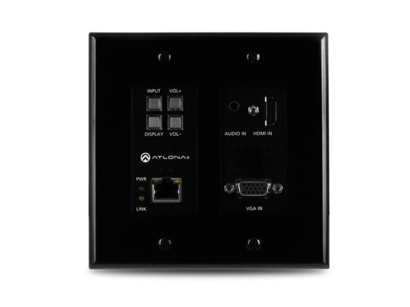 Atlona AT-HDVS-200-TX-WP-BLK 2-Input HDMI/VGA Wallplate Switch with Ethernet/Black