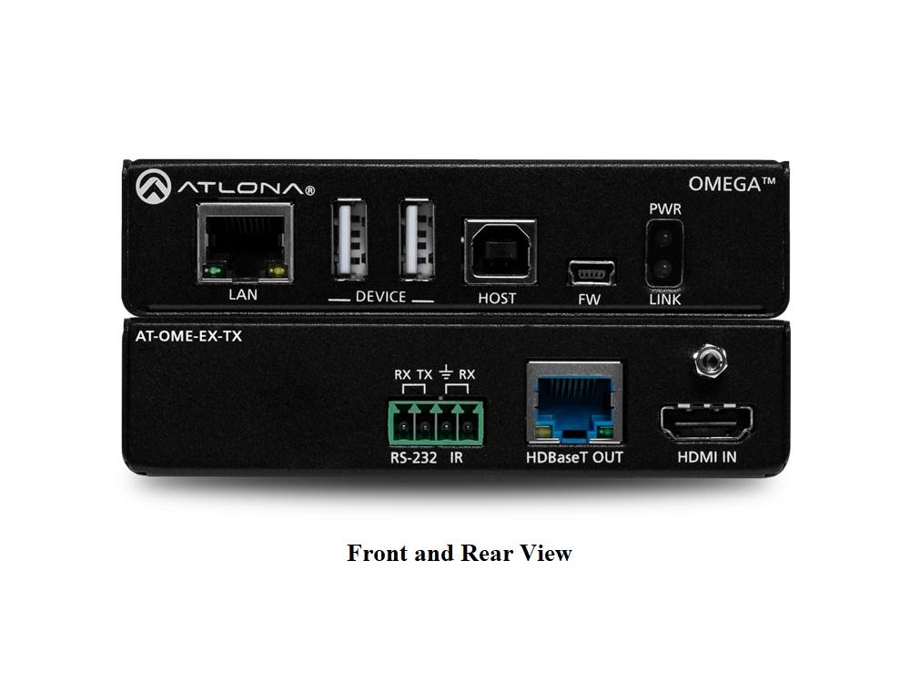 Atlona AT-OME-EX-TX 4K/UHD HDMI/HDBaseT Extender (Transmitter) with USB/Control/PoE up to 330ft/100m