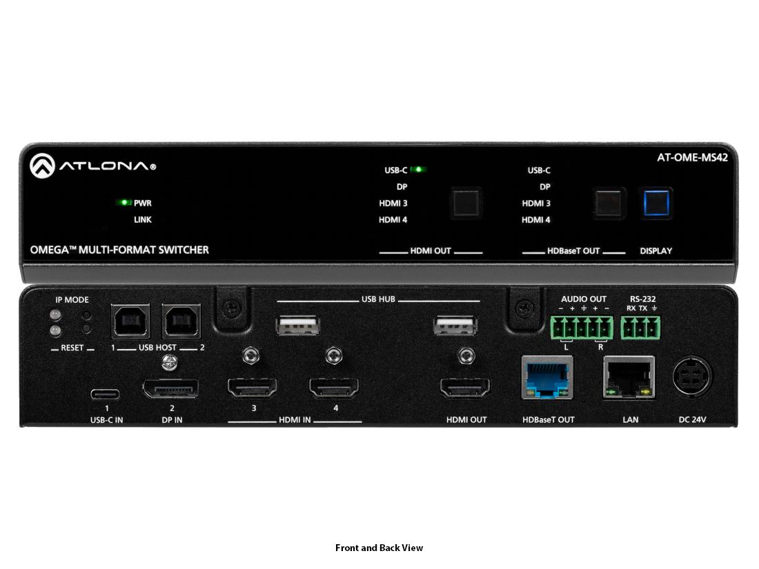 Atlona AT-OME-MS42 4x2 Multi-format (HDMI/USB-C/DisplayPort) Matrix Switcher with HDBaseT