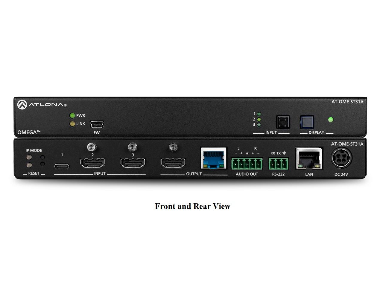 Atlona AT-OME-ST31A 3x1 4K/UHD HDBaseT Switcher with HDMI/USB-C and POE (Audio De-Embedding)