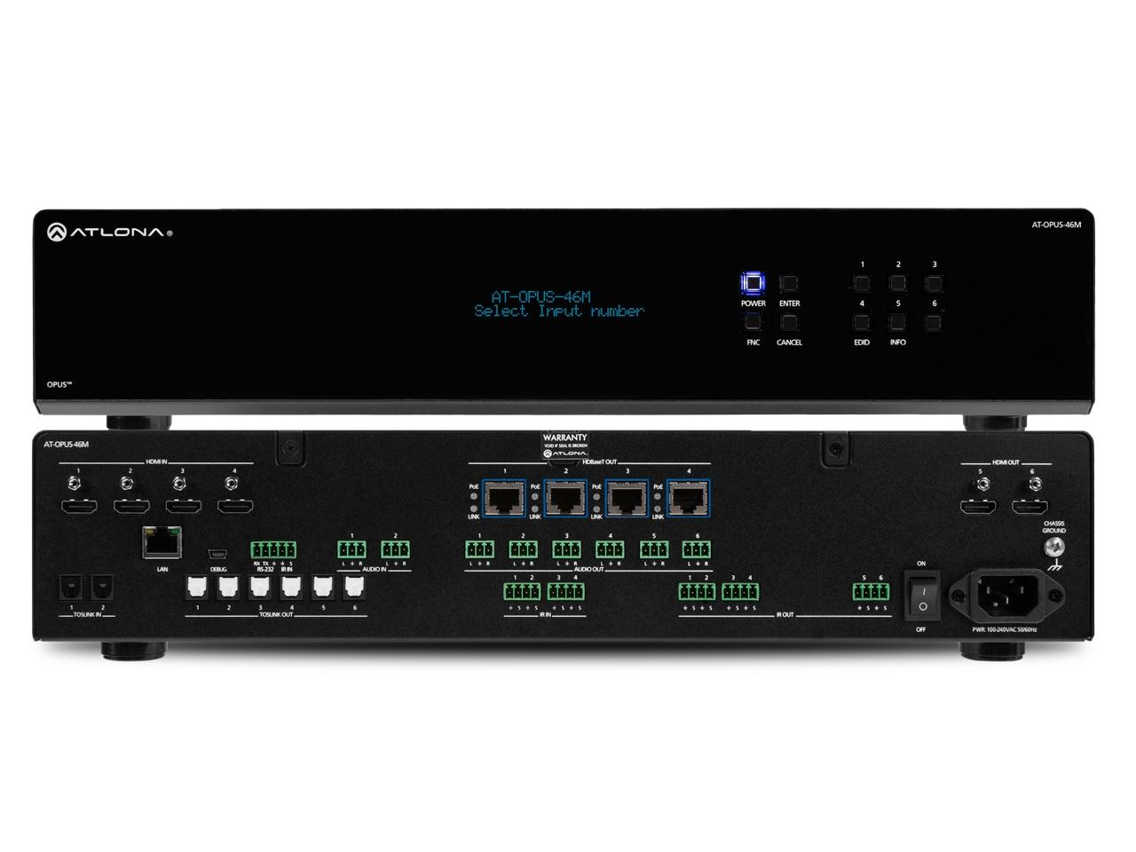 Atlona AT-OPUS-46M OPUS 4x6 4K HDR HDMI to HDBaseT Matrix Switcher
