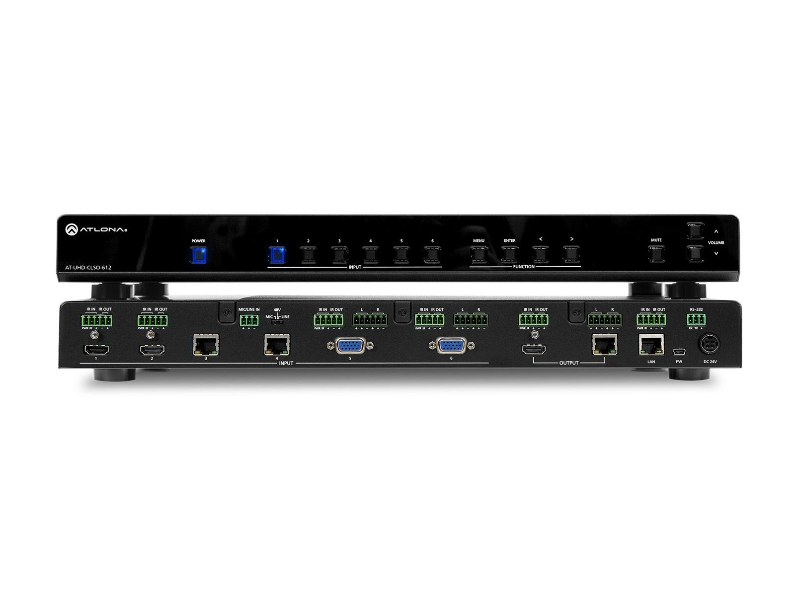 Atlona AT-UHD-CLSO-612-B 6-In Switch and Scaler w HDBaseT and Mirrored HDMI Out
