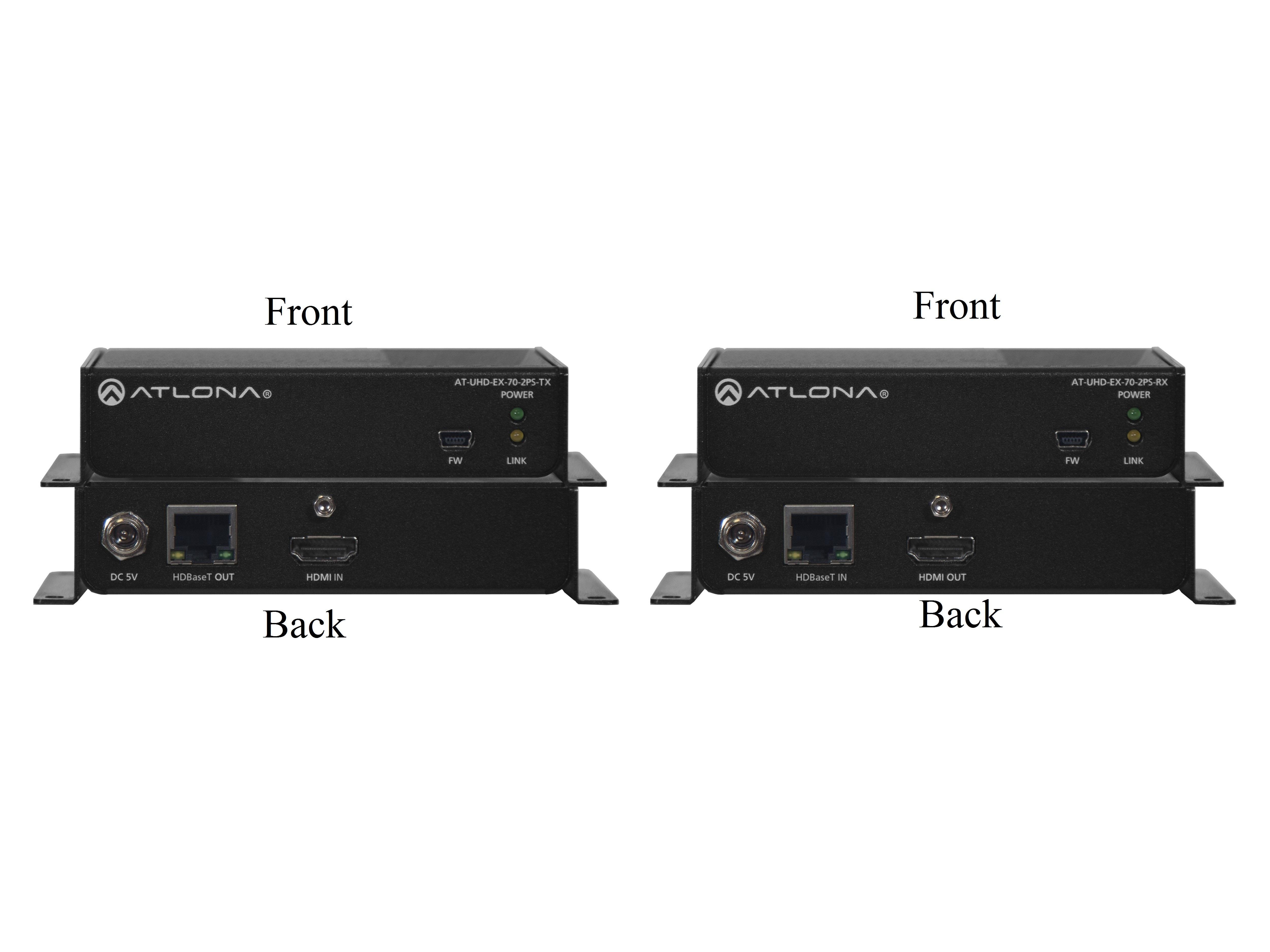 Atlona AT-UHD-EX-70-2PS 4K/UHD HDMI Over HDBaseT Extender(Transmitter/Receiver) Kit