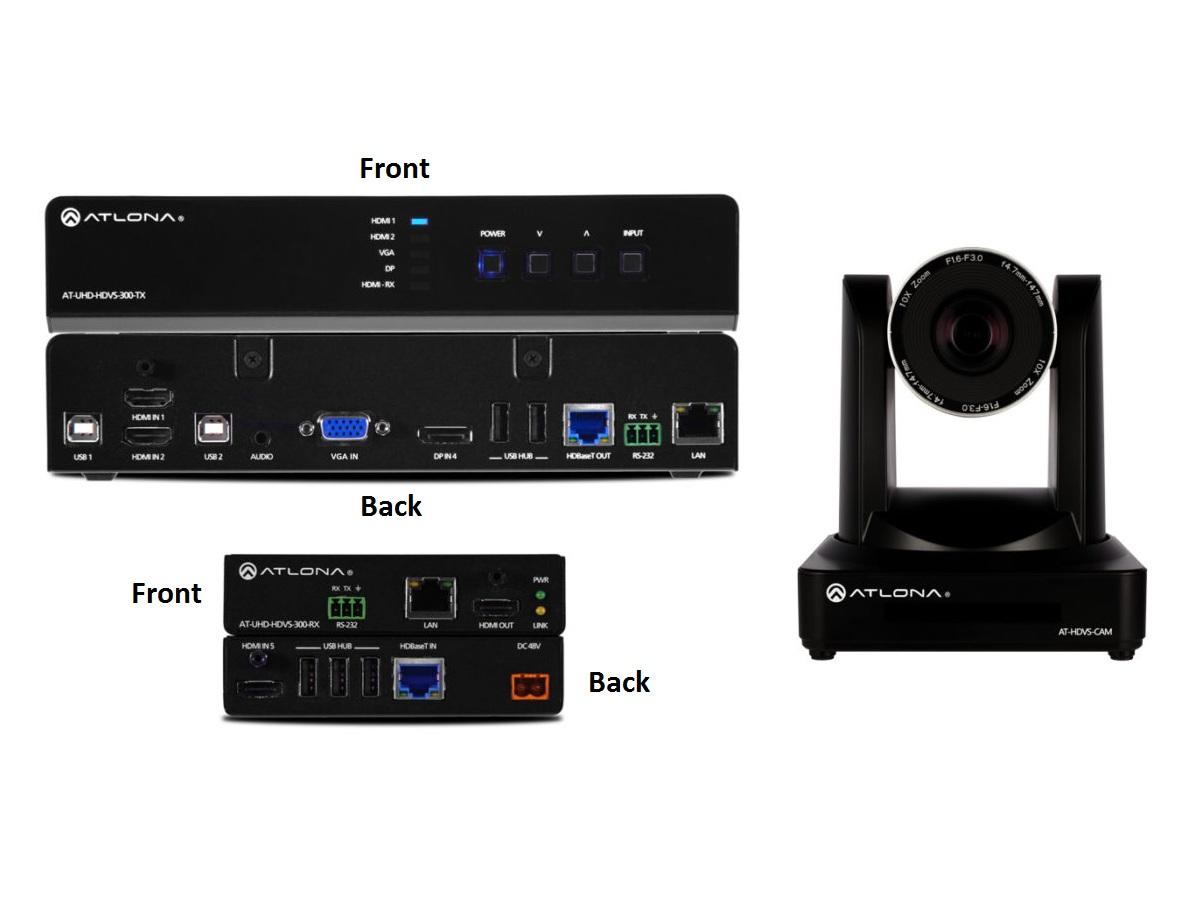 Atlona AT-UHD-HDVS-300-C-KIT Soft Codec Conferencing System (HDMI Extender (Transmitter/Receiver) Kit with PTZ Camera)