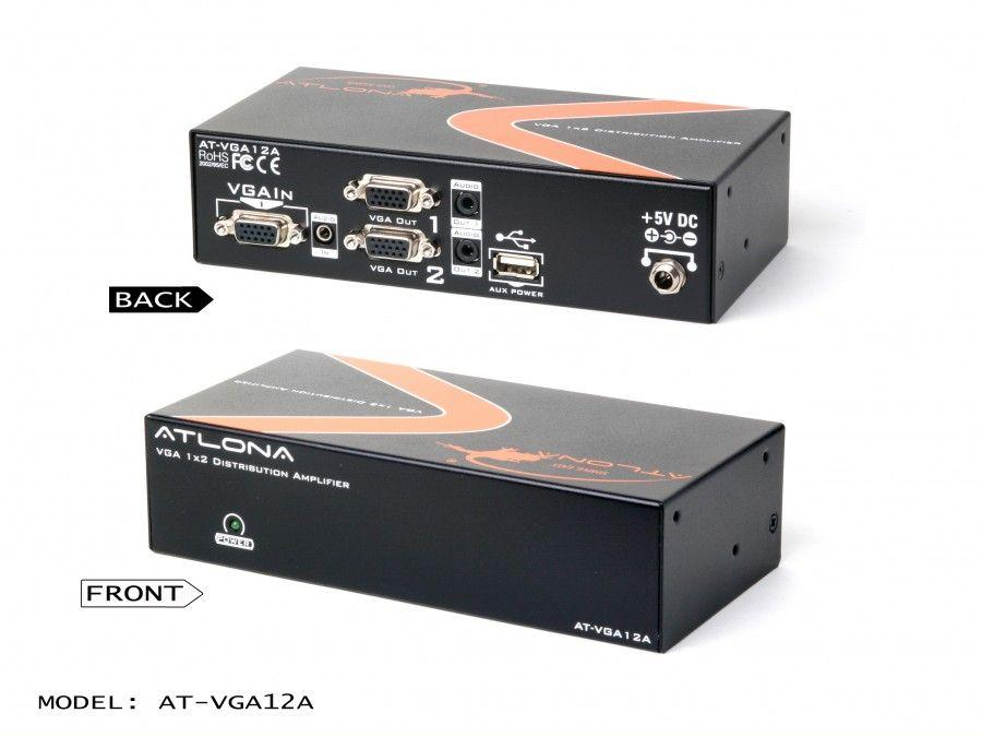 Atlona AT-VGA12A-b 1x2 VGA Distribution Amplifier with Audio and Constant Power ON