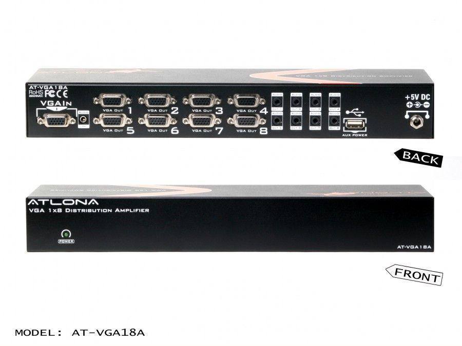 Atlona AT-VGA18A-b 1x8 VGA Distribution Amplifier with Audio and Constant Power ON