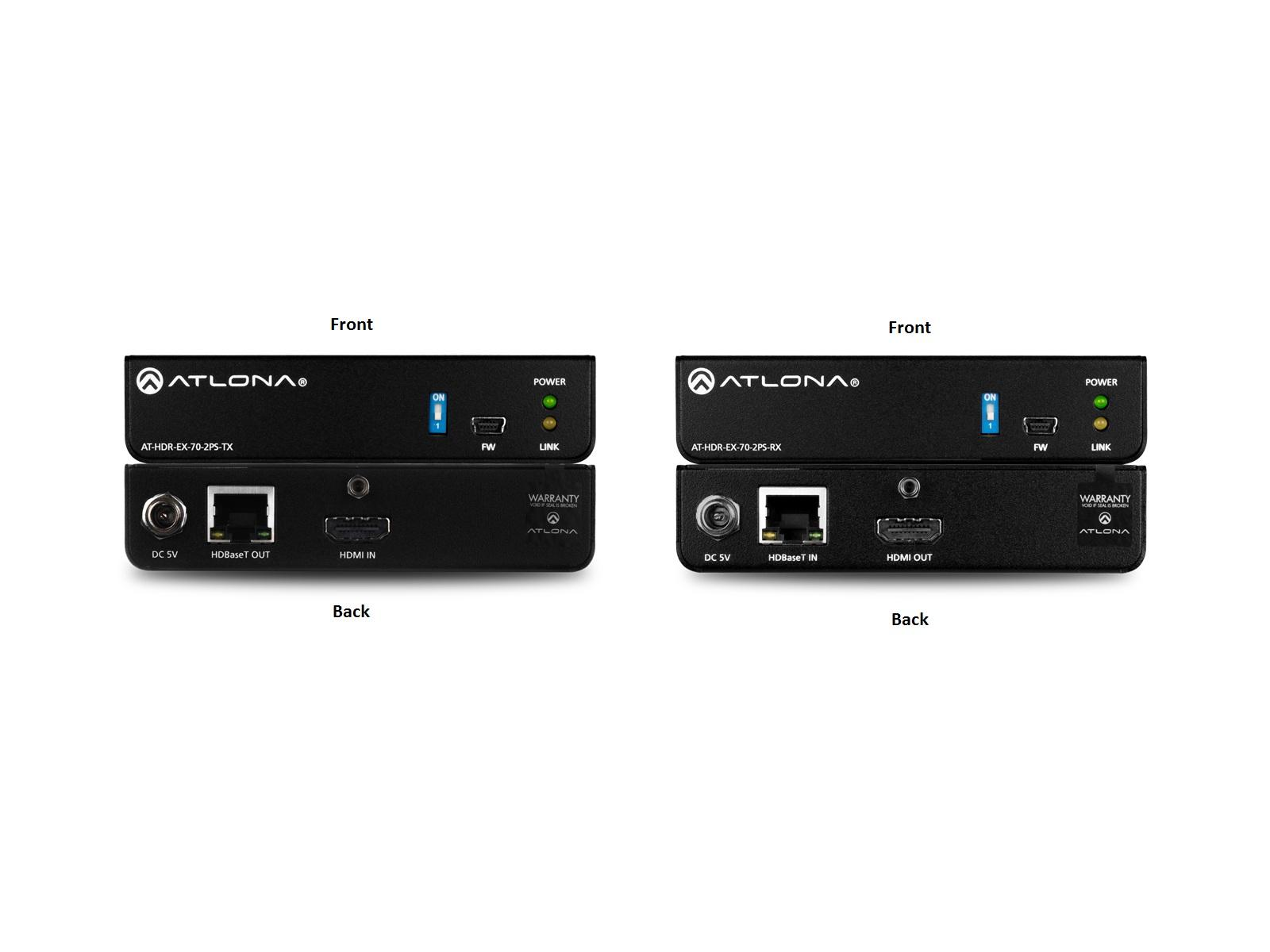 Atlona AT-HDR-EX-70-2PS 4K HDR HDMI Over HDBaseT Extender (Transmitter/Reciever) Kit