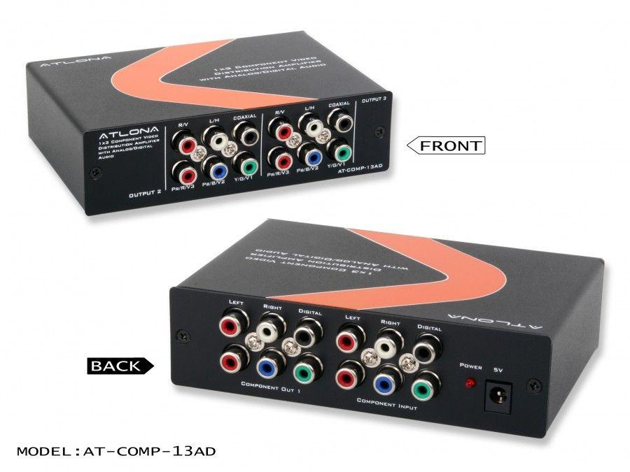 Atlona AT-COMP-13AD-b 1X3 COMPONENT VIDEO W/AUDIO DISTRIBUTION AMPLIFIER
