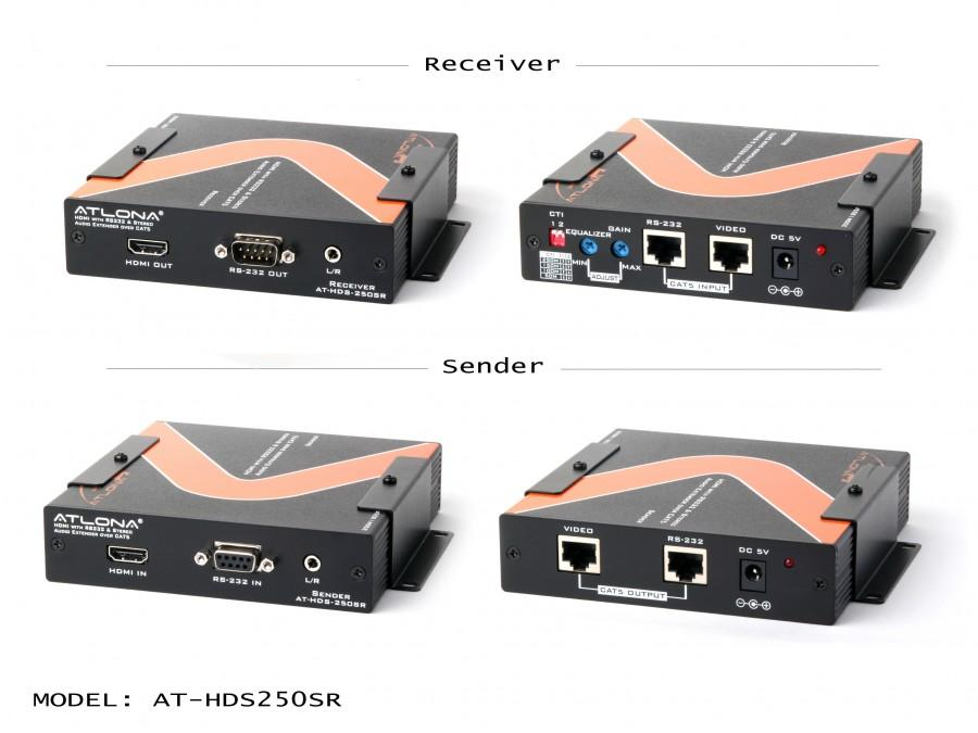 Atlona AT-HDS250SR HDMI with RS232 and Analog Audio Extender over Cat5 up to 825ft (SENDER/RECEIVER INCLUDED)