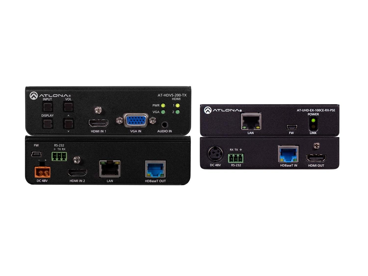 Atlona 4K-HDVS-EXT 4K/UHD HDBaseT PoE Extender (Transmitter/Receiver) Kit with Switcher