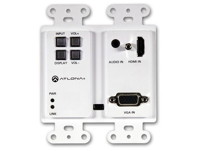 Atlona AT-HDVS-200-TX-WP 2x1 Wall Plate Switcher for HDMI/VGA in w HDBaseT out