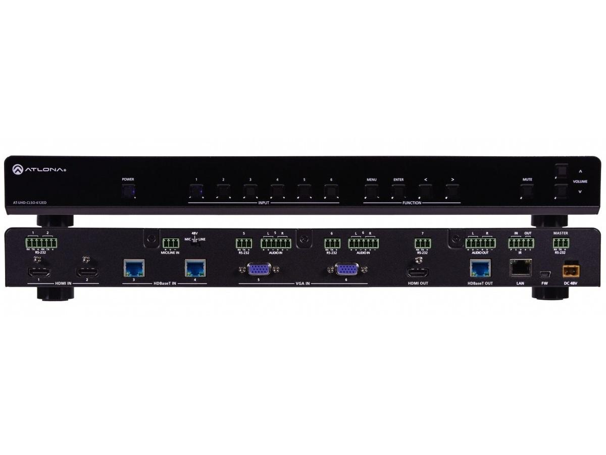 Atlona AT-UHD-CLSO-612ED 4K/UHD 6-In Multi-Format Switcher w HDMI/HDBaseT Out
