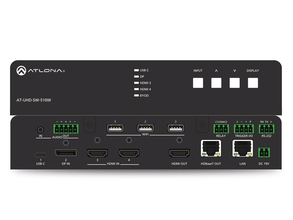 Atlona AT-UHD-SW-510W 4K/UHD 5-Input DisplayPort/HDMI/USB Universal Matrix Switcher