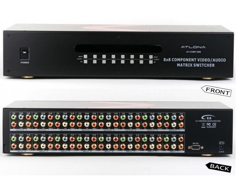 Atlona AT-COMP-88M-B Atlona AT-COMP-88M 8x8 Component Video with Analog and Digital Audio Matrix Switch (Atlona Refurbished )