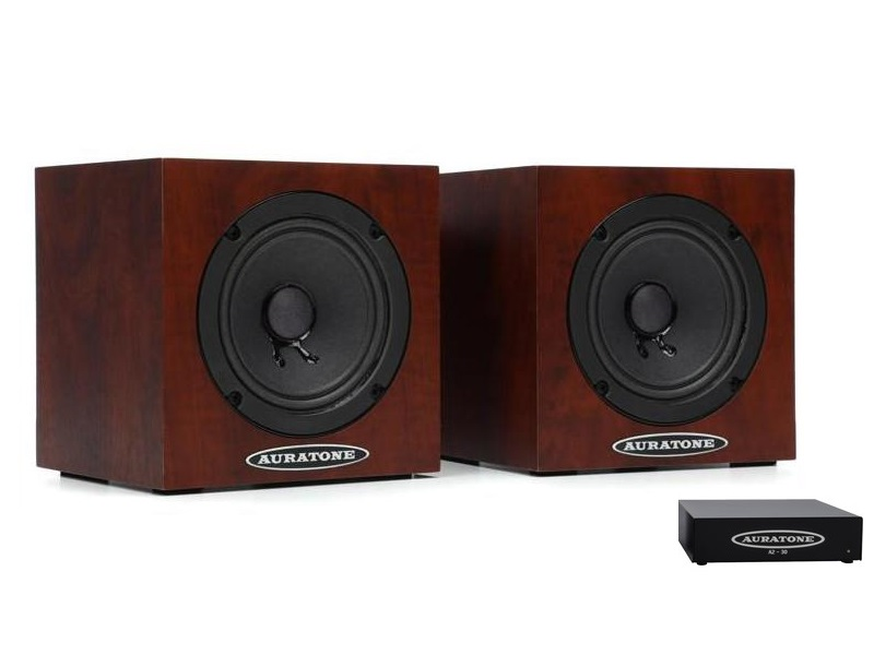 Auratone 5C Mahogany with Amp Super Sound Cube/Passive Monitor/80-15000 Hz/Mahogany (Pair) with A2-30 Amplifier