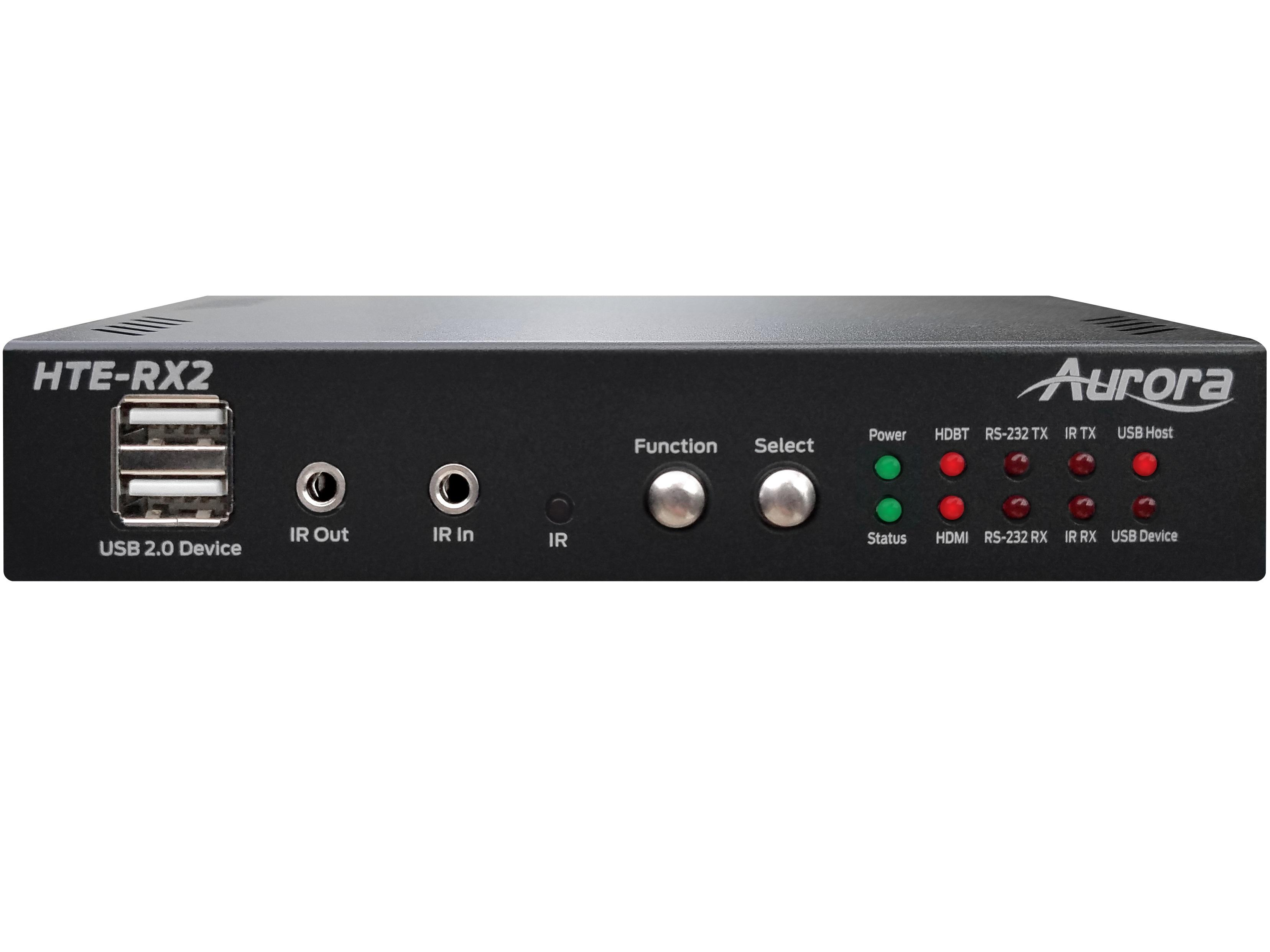 Aurora Multimedia HTE-RX2 4K60 HDR 2xHDMI/HDBaseT 2.0 Extender (Receiver) with Dante/USB/IP/IR up to 100m/330ft (Black)