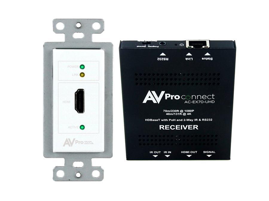 AVPro Edge AC-CXWP-HDMO-70KIT 4K HDMI/HDBaseT Decora Wall Plate Extender (Transmitter/Receiver) Kit up to 70m/230ft