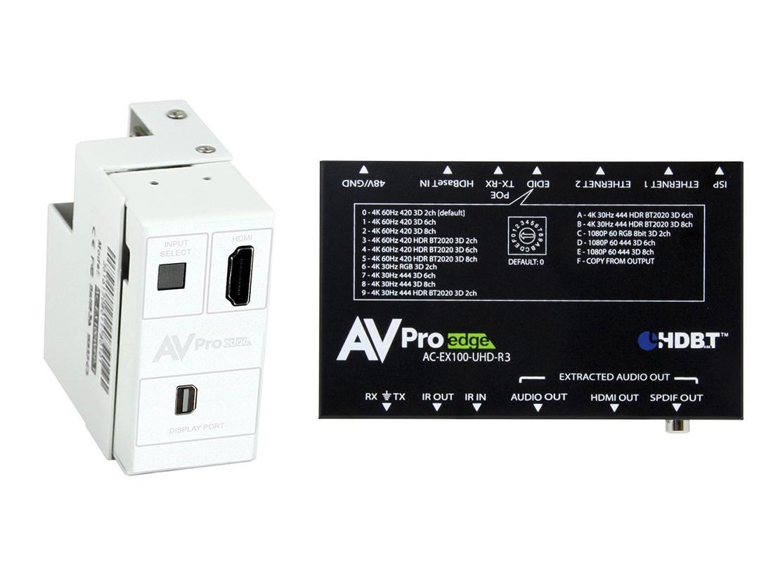 AVPro Edge AC-CXWP-MDP-100KIT 4K Mini DP/HDMI/HDBaseT Decora Wall Plate Extender (Transmitter/Receiver) Kit up to 100m/330ft