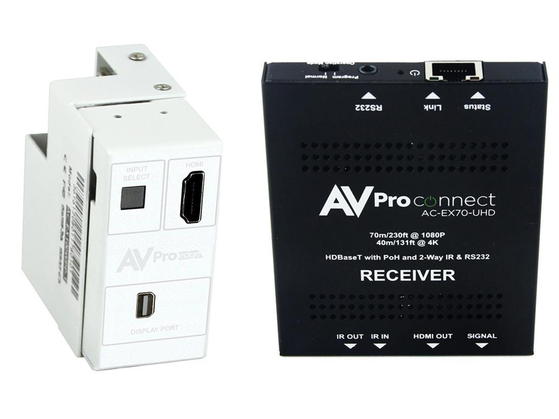 AVPro Edge AC-CXWP-MDP-70KIT 4K Mini DisplayPort/HDMI/HDBaseT Decora Style Wall Plate Extender (Transmitter/Receiver) Kit up to 70m/230ft