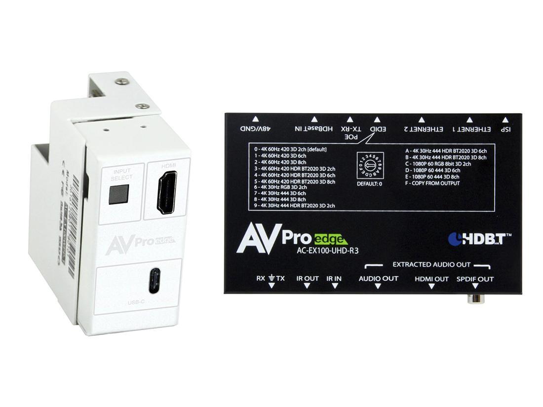 AVPro Edge AC-CXWP-USBC-100KIT 4K USB-C/HDMI/HDBaseT Decora Style Wall Plate Extender (Transmitter/Receiver) Kit up to 100m/330ft