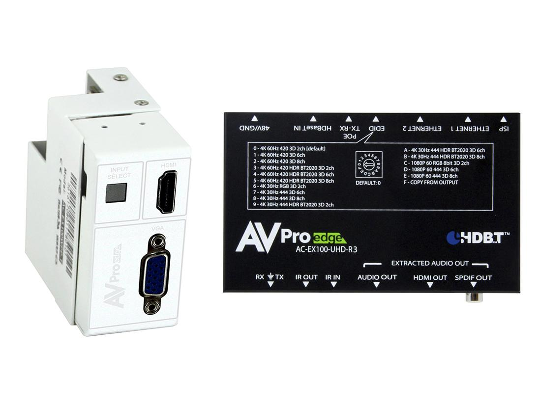 AVPro Edge AC-CXWP-VGA-100KIT 4K VGA/HDMI/HDBaseT Decora Style Wall Plate Extender (Transmitter/Receiver) Kit up to 100m/330ft