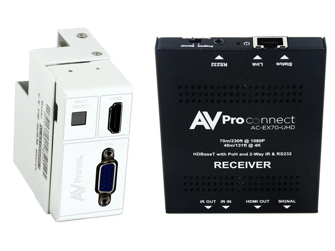 AVPro Edge AC-CXWP-VGA-70KIT 4K VGA/HDMI/HDBaseT Decora Style Wall Plate Extender (Transmitter/Receiver) Kit up to 70m/230ft