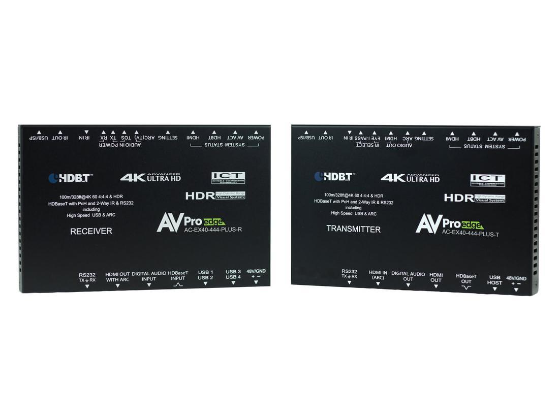 AVPro Edge AC-EX40-444-PLUS-KIT 4K60 HDR Ultra Slim HDMI/HDBaseT Extender (Transmitter/Receiver) Kit with Bi-Directional USB/KVM