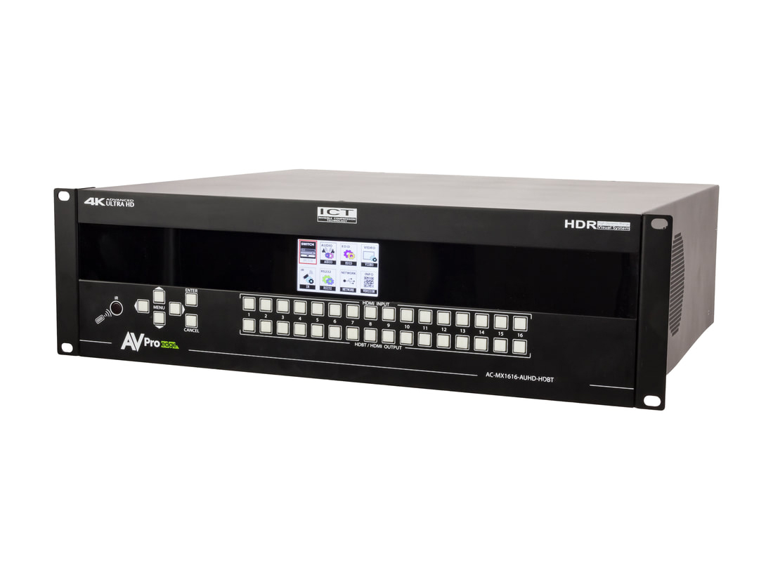 AVPro Edge AC-MX1616-AUHD-HDBT 18Gbps 4K 16x16 HDMI/HDBaseT Matrix with ICT/mirrored HDMI/IR Routing/RS232/Audio Matrixing