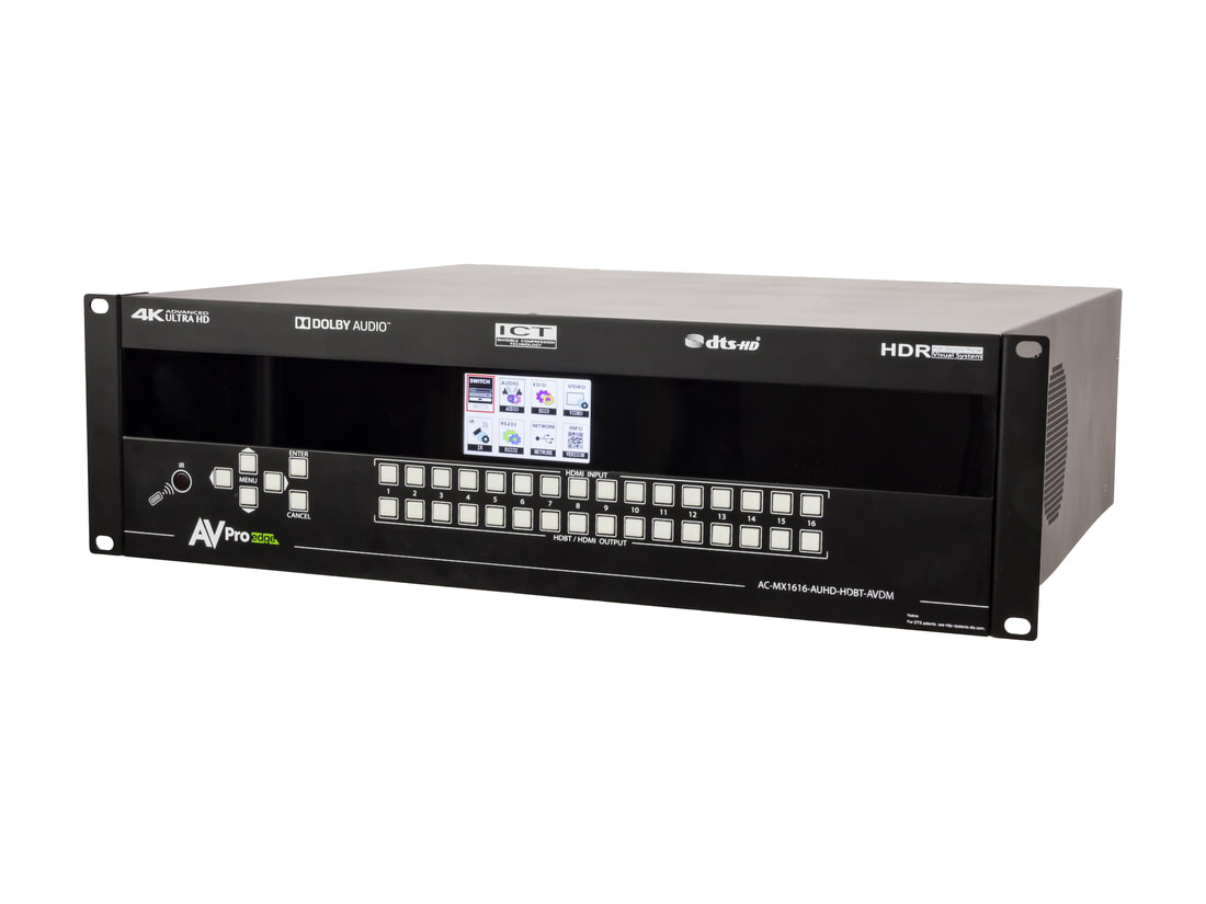 AVPro Edge AC-MX1616-AUHD-HDBT-AVDM 18Gbps 4K 16x16 HDMI/HDBaseT Matrix Switch with ICT/mirrored HDMI/IR/RS232/Audio Matrixing/Downmixing